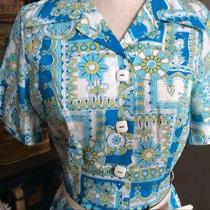 Vintage 60s LEE HOLLIDAY Geometric Print Dress